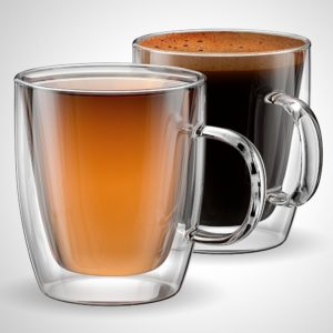 Glass Coffee Mugs With Handle 12oz Double Wall Set Of 2 Insulated Cuccino Latte Cups