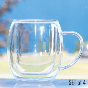 double walled glass tall handled latte cup