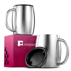 Top High quality stainless steel coffee mugs with handle and lid