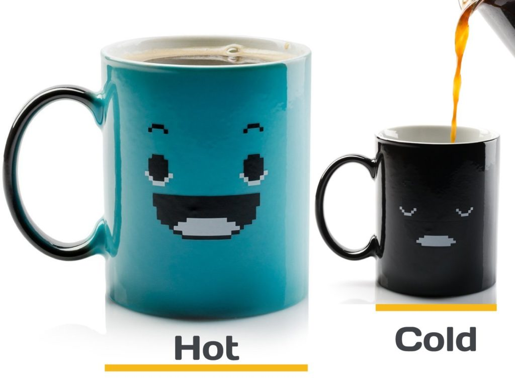 Coffee Mugs that change with heat
