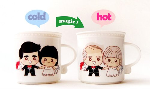 Romantic coffee cup changes with heat