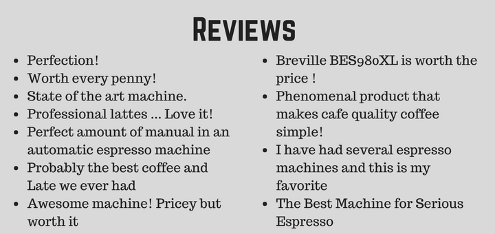 Breville BES980XL Reviews - What people think about the best espresso maker under $2000