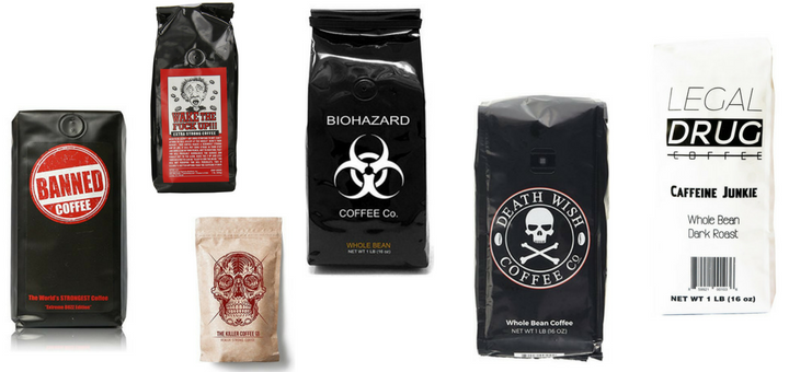 Most caffeinated coffee beans and ground coffee