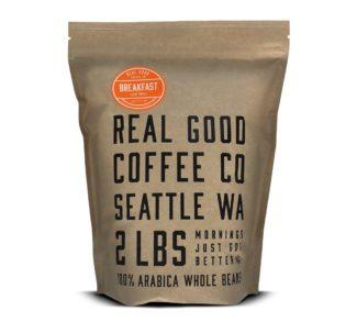 Real Good Coffee Co Whole Bean Coffee, Breakfast Blend Light Roast