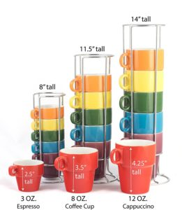 Gypsy Color Ceramic Coffee Mug Set of 6 Large (12 oz.) Stackable Cappuccino Cups with Chrome Stand