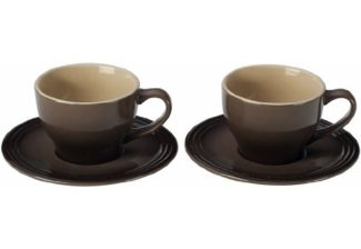 Le Creuset Stoneware Set of 2 Cappuccino Cups and Saucers